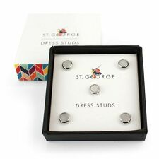 Dress Stud Round Mother Of Pearl silver NEW in Gift Box