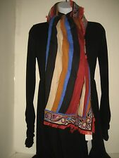 $595 NEW Emilio Pucci Vetrate Red Wool Blend Fringe Long Neck Scarf Shawl Wrap