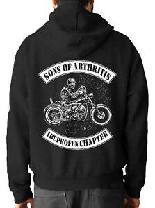 Men's SON's OF ARTHRITIS Back print Hoody Gym Top Christmas Gift Bikers Hoodies