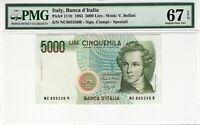 Italy 1985 5000 Lire PMG Certified Banknote UNC 67 EPQ Superb Gem Pick 111b