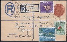 JAMAICA 1971 8c REGISTERED POSTAL STATIONERY ENVELOPE TO ENGLAND (ID:621/D41772)