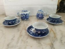 Vintage Blue Child's China Tea Set Creamer & Sugar With Lid and 3 Cups/Saucers