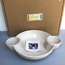 Longaberger Woven Traditions 3 Bowl Chip & Dip Ivory Pottery Serving Set 3pc Nib