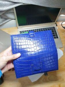 navy blue Crocodile Alligator Belly Leather Zipper Clutch Long Wallet