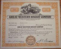 1946 Stock Certificate: 'Great Western Biscuit Company' - California - Orange