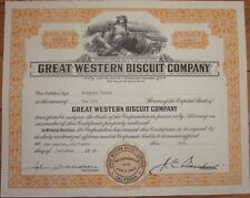 1946 Stock Certificate: 'Great Western Biscuit Company' - California - Orange