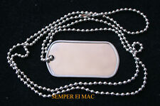 AUTHENTIC BLANK DOG TAG W CHAIN NECKLACE US ARMY MARINES NAVY AIR FORCE USCG WOW