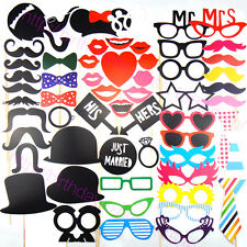 58PCS Party Photo props Booth Wedding Props Birthday On a Stick Masks