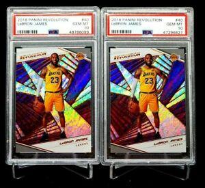 (Lot 2) 2018-19 Panini Revolution Lebron James PSA 10 GEM MINT 1st Card Lakers