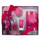 6 Piece Luxurious Ladies Berry Bliss Flavoured Body & Bath Gift Set Ribbon Box