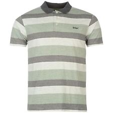 Mens New  Lee Cooper Short Sleeves All Over Striped Polo Shirt Size M-XXL