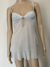 Victorias Secret Lingerie Dress Tie Front Soft Sheer Blue Lace Small