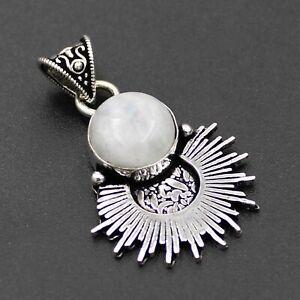 925 Silver Plated Rainbow Moonstone Handmade Pendant Ethnic Jewelry PDC50