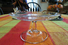 Vintage Etched Glass Compote Gorgeous  (U)