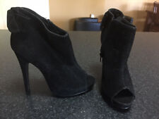 NEW CITY CHIC TALIA ANKLE BOW PEEP BOOT BLACK Stiletto BOOTS SIZE 37 RRP $129.95