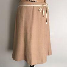 J Crew Tan Beige Wool Skirt - Size 8 - Flare Ribbon Work Career Houndstooth