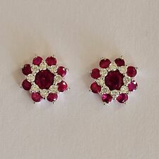 NATURAL RUBY EARRINGS TOP COLOUR RUBIES GENUINE DIAMONDS 9K WHITE GOLD STUDS NEW