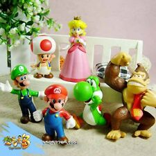 6pcs Mini Super Mario Bros 1.5~2.5' Action Figures Doll Toy Gifts KY
