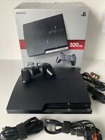 BOXED - Sony PlayStation 3 Slim Charcoal Black Console Bundle (H3)