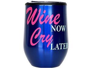 Custom 12oz Stemless Wine Tumbler/Coffee Travel Mug Glass Cup w/ Lid (Blue)