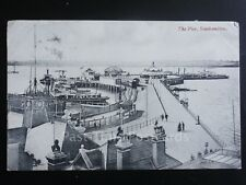 Hampshire: Southampton, The Pier, showing steam paddle boat at end of pier c1907