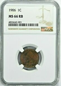 1906 1C Indian Head Cent NGC MS 66 RB (739-16) 99c NO RESERVE  Witter Coin