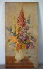 Vintage 1920s-30s Large Still Life Oil Painting On Wooden Panel,Flowers In Vase