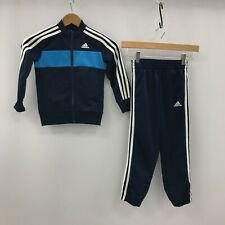 Adidas Tracksuit Age 5-6 Boys Navy Blue Top Bottoms Zip Up Casual Wear 290679