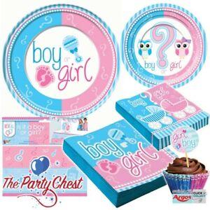 GENDER REVEAL TABLEWARE Baby Shower Boys Girls Napkins Plates Tablecover Picks