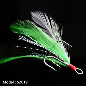 20pc Fishing Hooks Treble With Feather Minnow Fishing Lures Crankbaits SZ19 8#