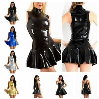 Womens Faux Leather Party Cocktail Mini Dress Flare Lady Skater Dresses Clubwear
