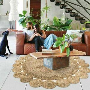 Jute Rug 100% Natural 4x4 Feet Round Reversible Rug Vintage Carpet Modern Rug