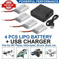 3.7V 600mAh Lipo Battery + Charger For Syma X5C F5C X5SW RC Drone Kids Play 4pcs