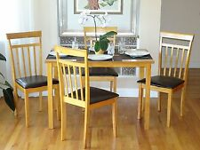 Dining Kitchen 5 PC SET Rectangular Table 4 Warm Chairs Breakfast Maple Color