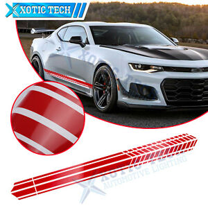2x Gloss Red Race Style Car Side Body Skirt Decal Vinyl Sticker For Chevy Camaro