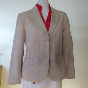 Pendleton Ladies Oatmeal Plaid Wool Blend Blazer size 6