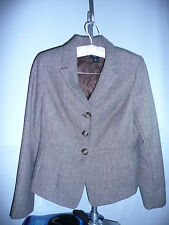 Ann Taylor Brown & Beige Zig Zag Tweed 52% Wool Blend Jacket - Coat SZ 8P