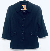 Tory Burch Womens Size 2 Black Tweed Jacket Blazer Button Lined Career