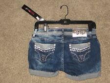 Vo Deluxe Jeans Denim Rhinestone Blue Jean Shorts Size 27