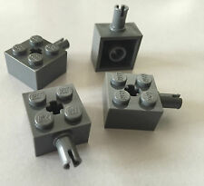 *NEW* 4 Lego BRICKS 2X2 BLUISH DARK GRAY with Pin and Axle Hole