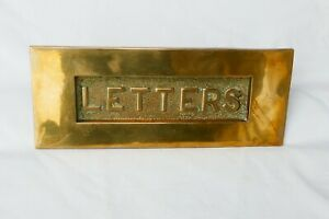 Large Brass Letterbox Flap Posting Slot+Fixing Large Opening X2 Good Spring 70s