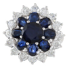 6.37 Carat Natural Blue Sapphire and Diamond 14K White Gold Luxury Cocktail Ring