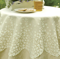 "Heritage Lace BLOSSOM 42"" Round Table Topper - 2 Colors Select White or Ecru"