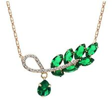 New Green Zircon Rose Gold Plated Czech Rhinestones Leaf Design Necklace Pendant