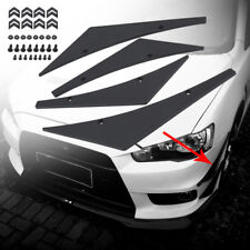 4pcs Universal Car Front Bumper Lip Splitter Fins Body Spoiler Canards Black ABS