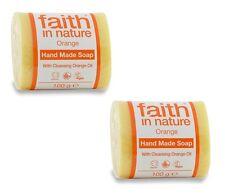 Faith in nature naranja hecho a mano jabón 2 x 100g - Vegano - Animales