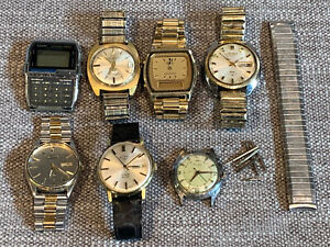 Lot of 7 Mechanical Vintage Retro (3) Automatic Watches for Parts / Repair