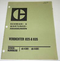 Betriebsanleitung und Wartungsanleitung Caterpillar Verdichter 825 / 835 07/1971