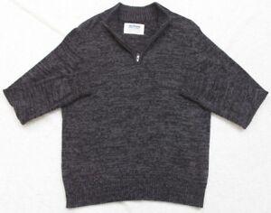 Large Gray Sweater Urban Pipeline Long Sleeve Man's Top Half-Zip Cotton Acrylic