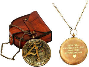 Engraved Sundial Compass with Leather case Traveler Gift Inspirational Gift